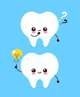 Милый зуб с вопросительным знаком и лампочкой персонажа. плоский мультипликационный персонаж иллюстрации значок изолированные на белом. зубы имеют идею