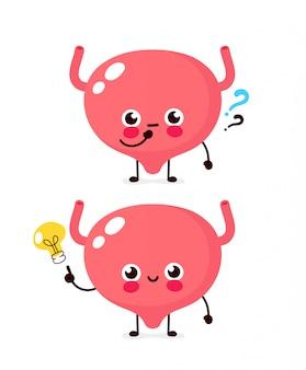 疑問符と電球文字のかわいい膀胱。フラット漫画キャライラストアイコン。白で隔離。膀胱にアイデアがある
