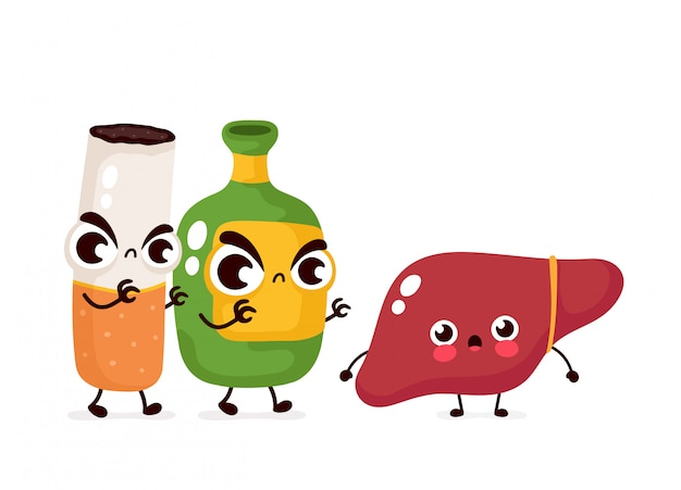 怒っている怖いアルコールボトルとタバコは肝臓のキャラクターを殺します。フラット漫画イラストアイコン。白で隔離。アルコール中毒と煙が肝臓を殺す