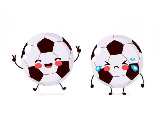 Милый счастливый улыбающийся и грустный крик футбольный мяч характер плоский мультфильм иллюстрации значок. изолированные на белом. персонаж футбольного мяча