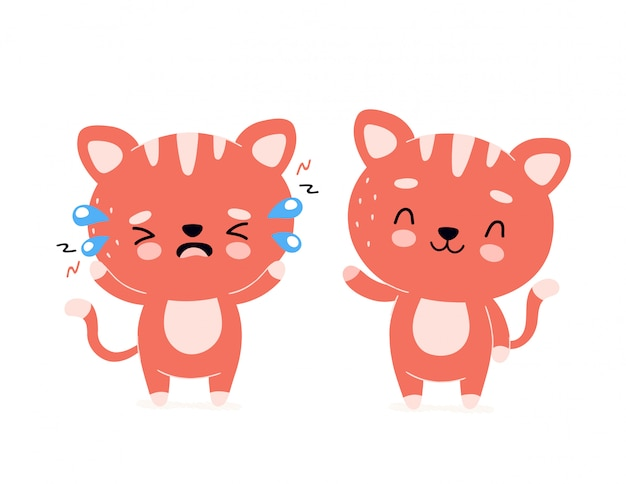 Милый счастливый улыбающийся кот и грустный крик персонажа. современный модный плоский стиль мультфильма иллюстрации значок. изолированные на белом. кошка, котенок здорового и нездорового характера