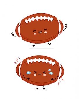かわいい幸せと悲しいアメリカンフットボールラグビーボール。