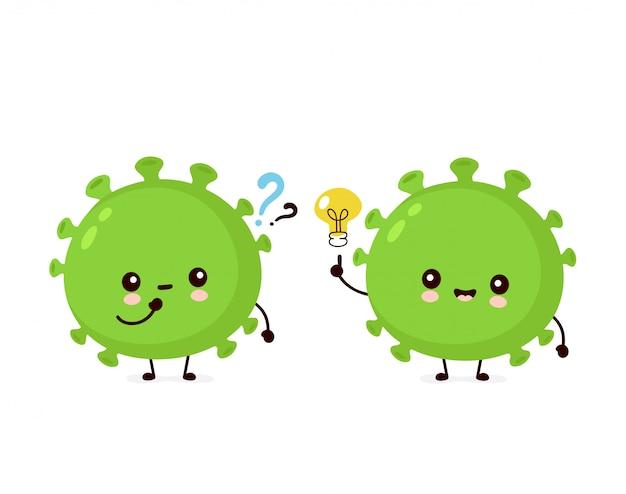 疑問符とアイデア電球のかわいい幸せな良いプロバイオティクス細菌。