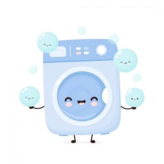 かわいい幸せの洗濯機は泡泡をジャグリングします。