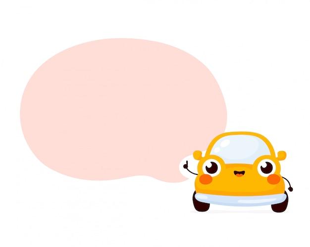 Милый счастливый желтый автомобиль с речи пузырь.
