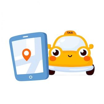 Смартфон с мобильным приложением службы такси и автомобилем на дороге. милый счастливый желтый персонаж автомобиля.