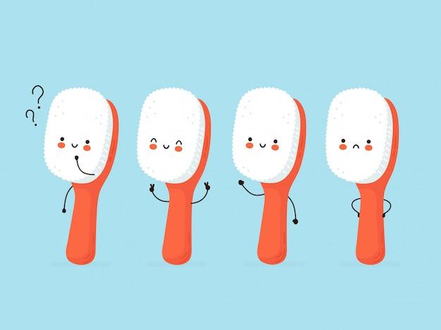 Симпатичные счастливые человеческие зубные щетки набор символов.