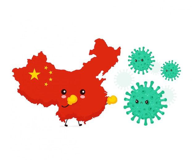 Китай в перчатках коробки воюет с плохой инфекцией коронавируса, микро бактериями. иллюстрация персонажа из мультфильма стиля вектора плоская. изолированный на белой предпосылке. концепция эпидемии вируса короны китая