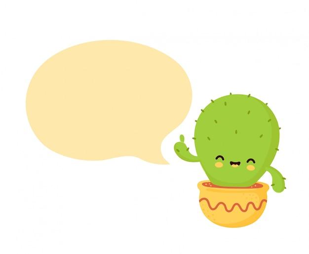 Милый счастливый усмехаясь кактус в баке с пузырем речи.