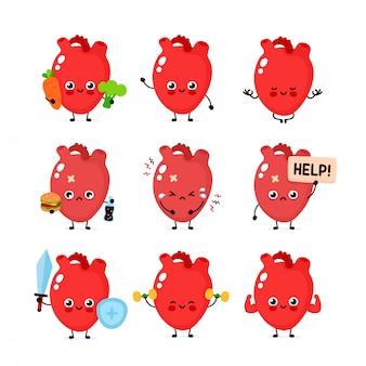 かわいい人間の心臓器官セット。健康で不健康な人間の臓器。