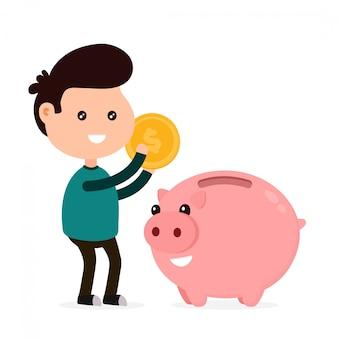 若い幸せなかわいい笑顔面白い男は、貯金箱にコインを投げます。