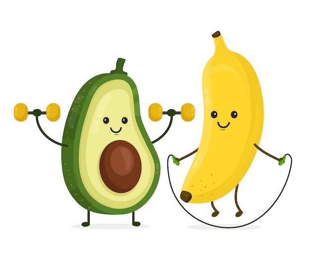 Милый счастливый улыбающийся банан и авокадо делают упражнения