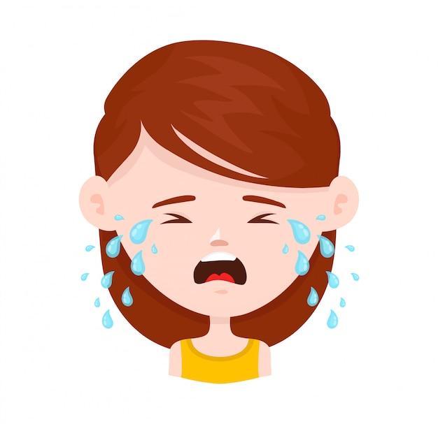 泣いている女性の若い女の子。