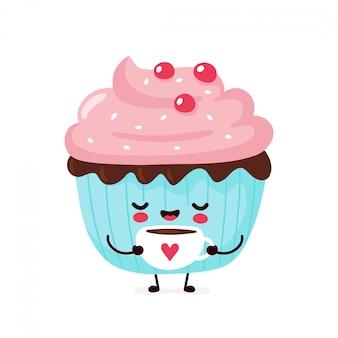 かわいい幸せな笑顔のカップケーキ。