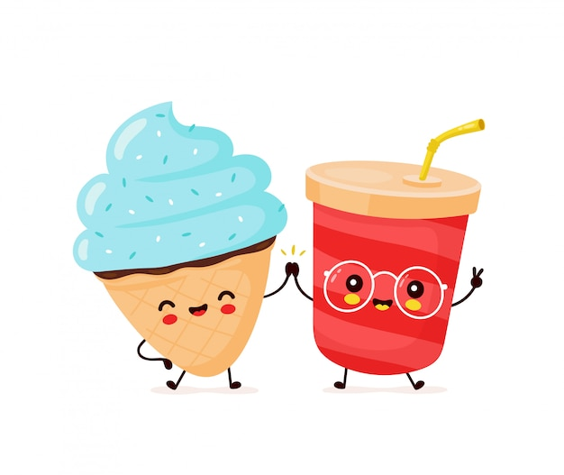 Милый счастливый улыбающийся конус мороженого и чашка содовой.