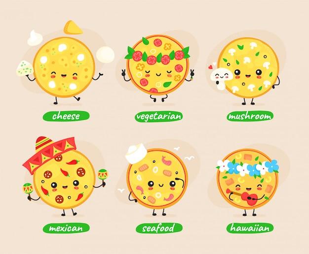Симпатичные счастливая пицца набор символов коллекции. концепция персонажей пиццы