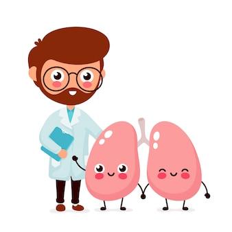 Милый забавный улыбающийся доктор пульмонолог и здоровые счастливые легкие.