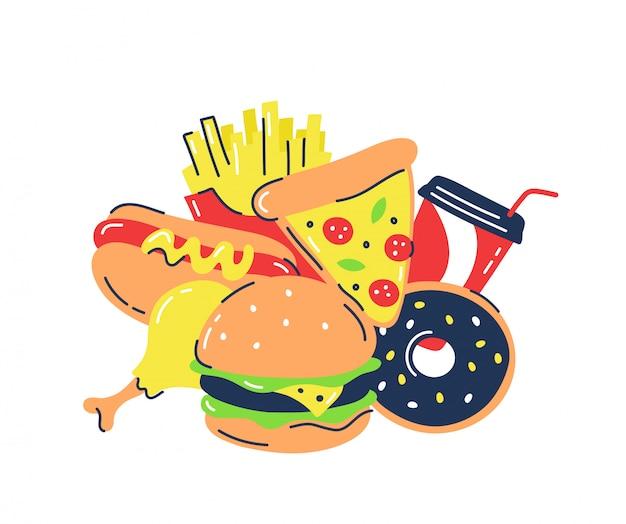 Бургер, пицца, пончик. хот-дог и другие продукты быстрого питания