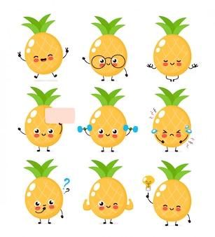 Мило счастливый улыбающийся ананас набор символов. концепция характера ананаса