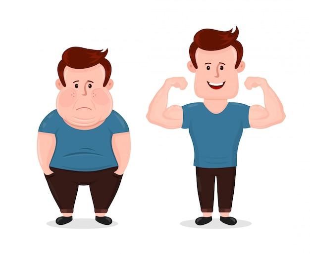 若い悲しい脂肪とスポーツフィットネス幸せな筋肉男。