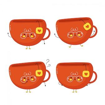 Милый счастливый чай кубок набор. изолированные на белом. дизайн иллюстрации персонажа из мультфильма вектора, простой плоский стиль. чашка чая, набор символов, концепция коллекции