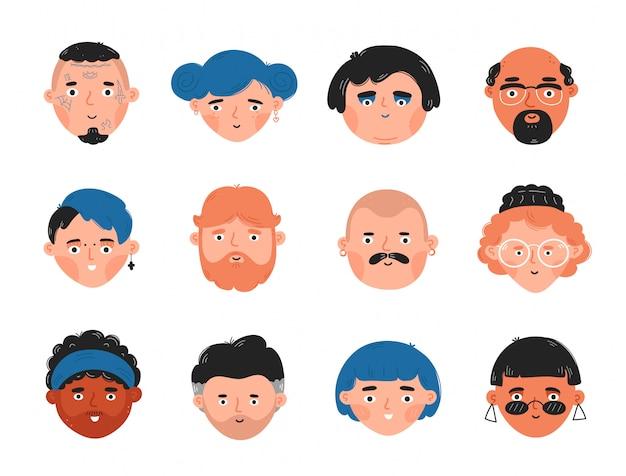人間の顔のアバターセットのコレクション。