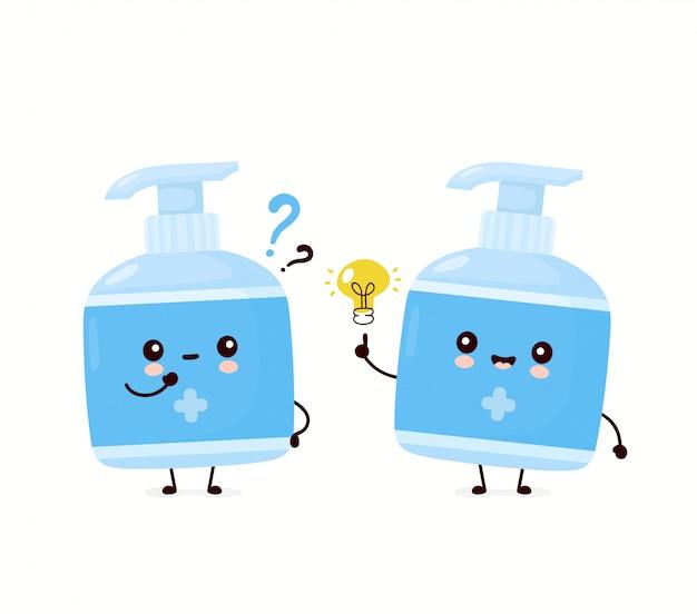 疑問符とアイデア電球でかわいい幸せな笑みを浮かべて防腐剤ボトル。