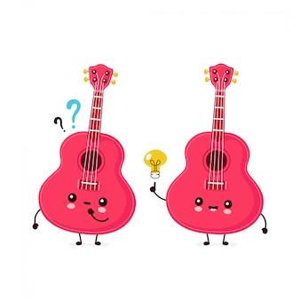 疑問符とアイデアの電球とかわいい幸せな笑顔のウクレレギター。フラット漫画キャラクターイラストデザイン。白い背景で隔離。ウクレレギター、音楽マスコットコンセプト