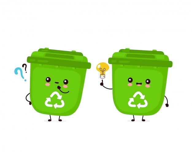 Милое счастливое усмехаясь мусорное ведро с вопросительным знаком и лампочкой идеи. плоский дизайн иллюстрации персонажа из мультфильма. изолированный на белой предпосылке. переработка мусора, концепция сортированного мусора