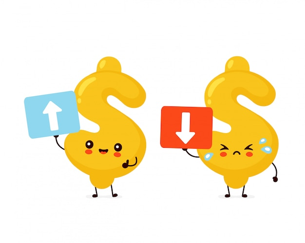 Милый счастливый и грустный крик доллара персонаж держит знак со стрелками. плоский дизайн иллюстрации персонажа из мультфильма. изолированные на белом фоне деньги, концепция знак доллара