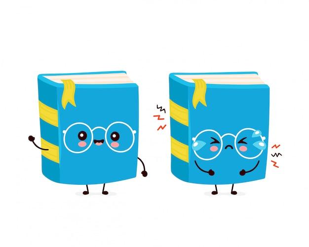 Мило счастливых улыбок и грустный крик книги. плоский дизайн иллюстрации персонажа из мультфильма. изолированный на белой предпосылке. книга, концепция образования
