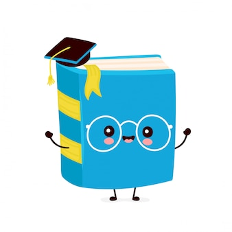 卒業の帽子でかわいい幸せな笑みを浮かべて本。フラット漫画キャラクターイラストデザイン。白い背景で隔離。本、教育コンセプト