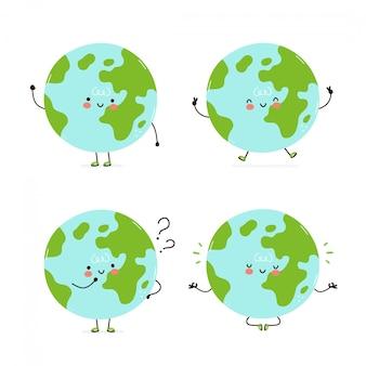 Симпатичные счастливые коллекции планеты земля набор символов. изолированные на белом. дизайн иллюстрации персонажа из мультфильма вектора, простой плоский стиль. прогулка по земле, тренировка, думать, размышлять