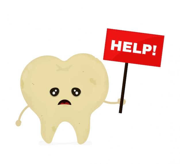 Грустный нездоровый больной зуб с помощью таблички с фамилией. современный дизайн иллюстрации персонажа из мультфильма стиля. помочь концепции нездоровых зубов.