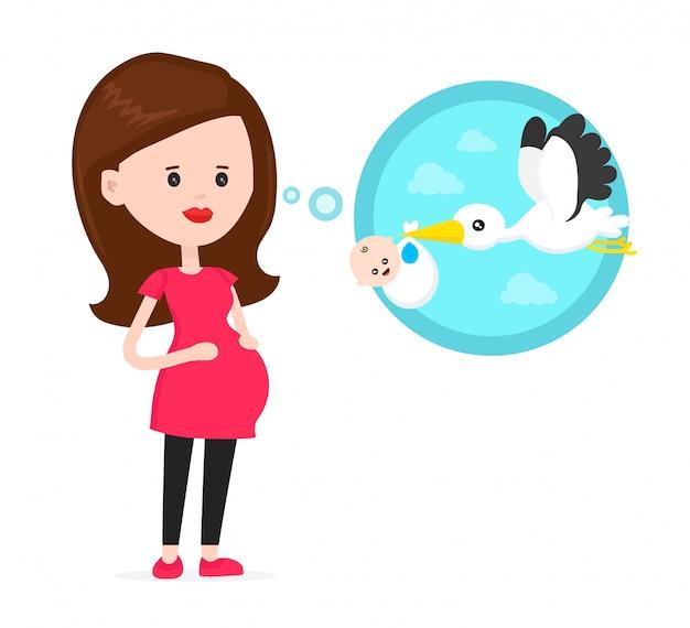 Беременная женщина думает о летающем аисте с пачкой с маленьким милым улыбающимся ребенком. современный плоский стиль мультипликационный персонаж иллюстрации. изолированные на синем фоне. концепция аиста и новорожденного