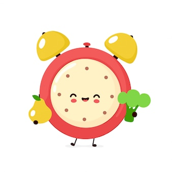 Милый усмехаясь счастливый будильник с грушей и брокколи. плоский дизайн иллюстрации персонажа из мультфильма. изолированный на белой предпосылке. будильник, концепция характера диеты здоровой пищи