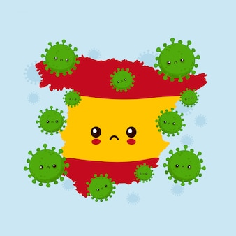 Милая печальная испания атаковала коронавирусную инфекцию. плоский стиль иллюстрации персонажа из мультфильма