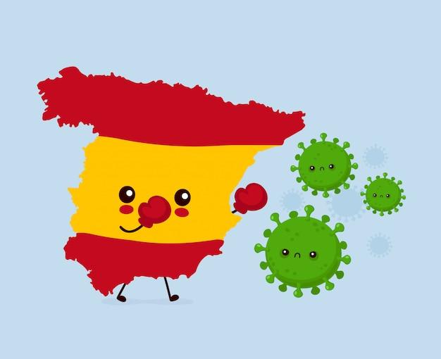 Симпатичная испания борется с коронавирусной инфекцией. плоский стиль иллюстрации персонажа из мультфильма