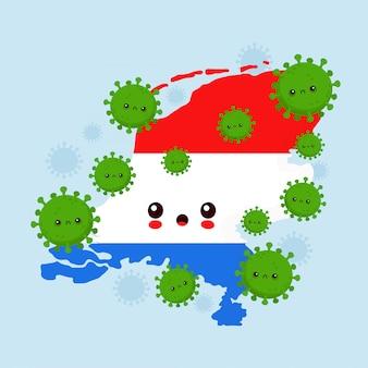 かわいい悲しいオランダがコロナウイルス感染を攻撃しました。フラットスタイル漫画キャライラスト