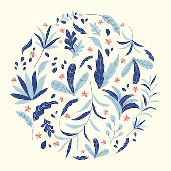 熱帯のジャングルの葉と花のイラスト