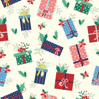 Шаблон рождественских подарков с цветами и листьями