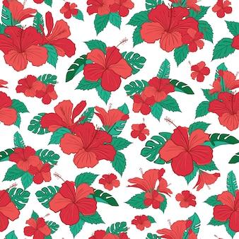 ハイビスカスの熱帯の花模様