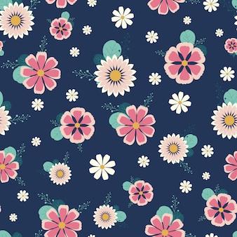Симпатичные цветочные бесшовные модели с синим фоном
