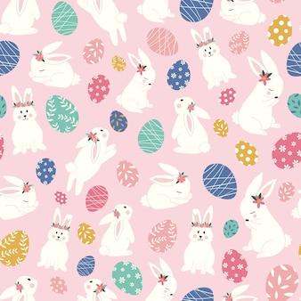 かわいいウサギとイースターエッグのシームレスパターン