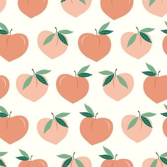 桃のシームレスなパターン。新鮮な夏の雰囲気
