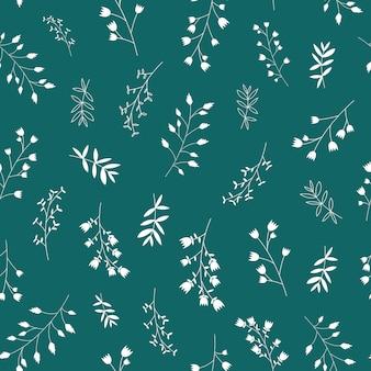 スカンジナビアのシームレスな白い葉と花のパターン