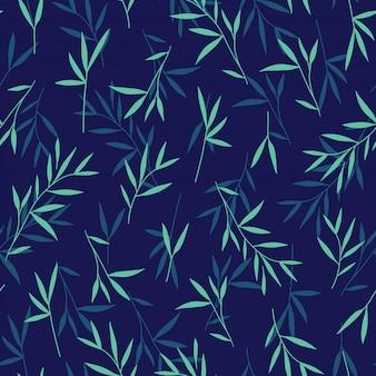 シームレスなかわいいグリーン竹の葉模様