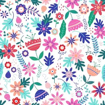 スカンジナビアの民俗でシームレスなカラフルな花柄