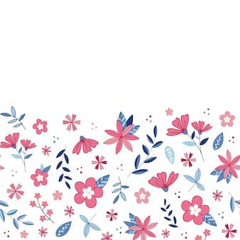 花の咲く庭のボーダー柄