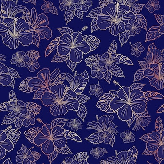 美しいローズゴールドハイビスカスの花柄